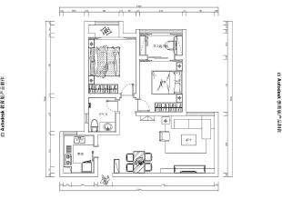 正商恒钻80平两室两厅简欧风格装修效果图-平面设计方案,80平,3万,欧式,两居,
