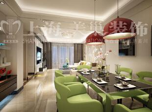 橄榄城伍号院90平两室两厅现代简约装修样板间-餐厅效果图,90平,4万,现代,两居,餐厅,简约,餐厅,绿色,白色,