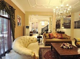 田园风格客厅局部,北京别墅装修风格,别墅装修设计,别墅软装设计,别墅装修风格,客厅,黄白,原木色,