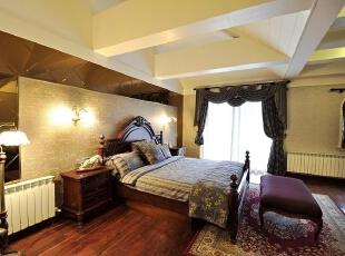 田园风格老人房,卧室,暖色,黄白,