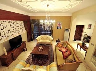 客厅远景,北京别墅装修设计,别墅软装设计,别墅装修设计,北京室内设计,客厅,棕色,黄白,