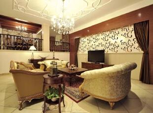 小会客厅,客厅,棕色,黄白,