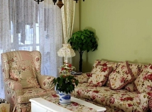 ,120平,15万,田园,两居,客厅,白色,绿色,