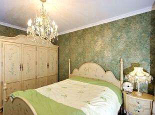 ,120平,15万,田园,两居,卧室,绿色,白色,