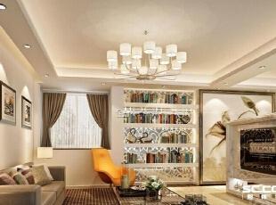 ,95平,10万,现代,两居,客厅,黄白,