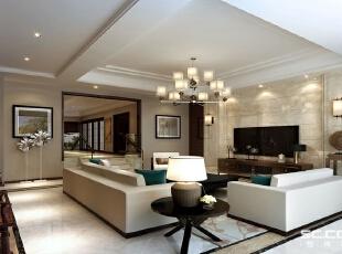 客厅是传统与现代居室风格的碰撞,设计师以现代的装饰手法和家具,结合古典中式的装饰元素,来呈现亦古亦今的空间氛围。中式风格的古色古香与现代风格的简单素雅自然衔接,使生活的实用性和对传统文化的追求同时得到了满足。,380平,50万,中式,别墅,客厅,黄白,