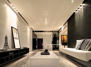,140平,30万,现代,三居,客厅,黑白,
