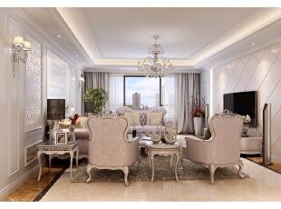 设计师延续了古典主义风格的造型,同时选用更为简单的线条和清淡的颜色,米色基底上配合银箔镶边家具适当融入菱形镜和欧式装饰,为古典主义风格的注入一缕清风。,312平,100万,别墅,清新,客厅,米色,