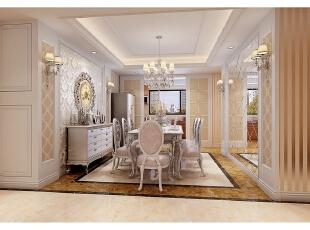 餐厅整体式样与客厅类似,但棕色地面与米黄色壁纸的使用使得装饰更加清新;设计师选用了淡粉色的丝绒餐椅,在材料上贴合古典主义的材料,同时保证空间的浪漫简约。,312平,100万,别墅,清新,餐厅,米黄色,