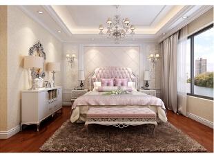 主卧空间中没有较多的创意元素,只是将各种经典元素进行巧妙搭配,菱形床榻、棕色羊毛地毯以及踢脚线的使用增加了设计的可读性,整体色调依然以清新为主。,312平,100万,别墅,清新,卧室,黄白,