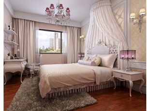 女儿房的增加了较多公主元素,展现小女儿情怀的公主式蚊帐、交相呼应的枣红色台灯与吊灯,构建一个完整的粉色空间。,312平,100万,别墅,清新,卧室,粉色,白色,