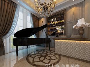 清水苑260平复式简欧风格装修样板间——琴房装修效果图,260平,10万,现代,复式,客厅,黑白,