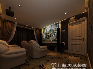 清水苑260平复式简欧风格装修方案——家庭影院装修效果图,260平,10万,现代,复式,影音室,棕色,白色,