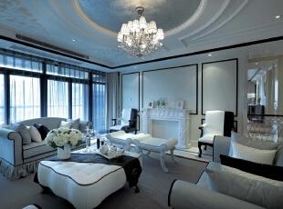 客厅:简单时尚又不失稳重,是整个家庭的代表,381平,20万,新古典,三居,客厅,黑白,