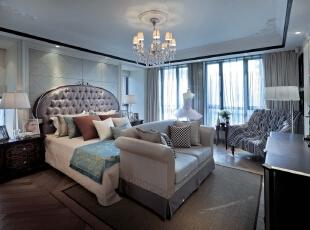 主卧:舒适时尚,只是简单的搭配却显示出了与众不同,381平,20万,新古典,三居,卧室,黑白,