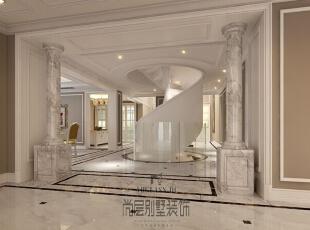 挑空的玄关和别致的旋转楼梯,使得整个空间在大的色调中独树一帜,豁然开朗。,700平,400万,新古典,别墅,