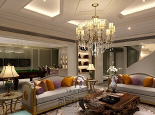 墙面装饰在许多设计师的倡导下正逐渐发展成为一种家装流行趋势。墙画虽小,其独有的艺术气质及装饰才情却能瞬间改变居室表情,为家增色不少。恰当的墙面布置能平衡居室空间,使每一件家具和饰品都融为一体,给人以浑然天成的整体美感。,700平,400万,新古典,别墅,