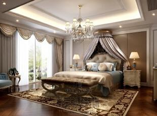 大华澄宫美式新古典主卧室,700平,400万,新古典,别墅,