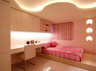,150平,19万,现代,三居,卧室,浅棕色,粉红色,
