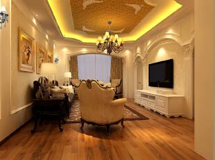 【南昌实创整体家装】客厅欧式风格效果图,120平,16万,现代,三居,客厅,欧式,简约,黄色,