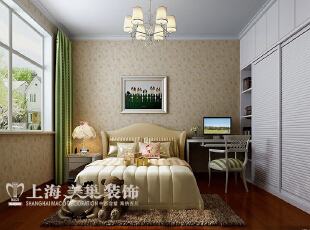 雅居乐国际花园3室2厅样板间装修效果图---次卧室融入现代的元素,同时在空间主题上仍然以舒适的机能为主。,95平,6万,现代,三居,卧室,暖色,白色,