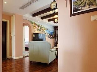 ,180平,35万,美式,三居,客厅,粉红色,原木色,白色,
