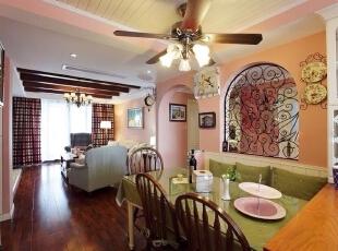 ,180平,35万,美式,三居,餐厅,粉红色,绿色,白色,