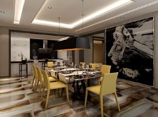 ,160平,80万,现代,三居,餐厅,咖啡色,