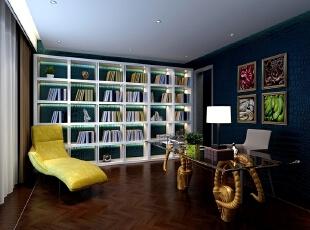 ,160平,80万,现代,三居,书房,白蓝,