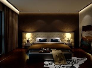 ,160平,80万,现代,三居,卧室,棕色,黄白,