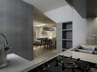 ,150平,12万,简约,三居,厨房,黑白,