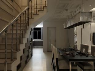 ,150平,12万,简约,三居,厨房,餐厅,棕色,白色,
