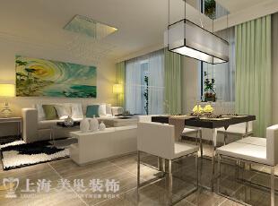 怡丰新都汇123平三室两厅现代简约风格装修案例——客餐厅装修效果图,123平,8万,现代,三居,客厅,餐厅,白色,青绿色,