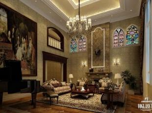 ,730平,400万,混搭,别墅,客厅,褐色,棕色,