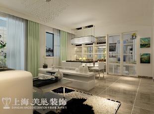 郑州怡丰新都汇123平三室两厅现代简约风格装修样板间——客厅装修效果图,123平,8万,现代,三居,客厅,餐厅,白色,青绿色,