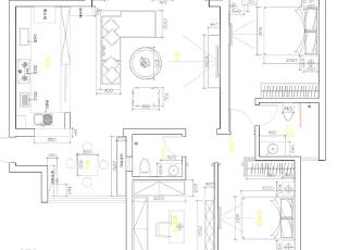 怡丰新都汇123平三室两厅现代简约风格装修户型图,123平,8万,现代,三居,