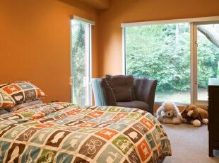 ,500平,80万,现代,别墅,卧室,橙色,
