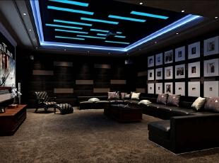 地下二层的影音室也是同样新奇,摒弃了传统的宽阔椅子,换成长条沙发,颇像豪华的KTV包间。进入这里在享受视觉盛宴的同时,也想高歌一曲,也许这就是设计师的想法吧! 新东方主义的混搭风格,看似漫不经心,实则出奇制胜。把各种风格的元素合理搭配,便可随心而动,打造出时尚温馨的雅致居室。这套居室,不拘泥于传统中式的沉稳,用时尚的材料来诠释中式元素,注重整体空间、主题色调、配饰等各方面的协调统一,充分考虑到主人的生活需求和设计需要,体现设计与实用的完美结合!,400平,80万,混搭,别墅,影音室,黑白,
