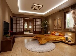 乘坐电梯进入二层,右手边便是一件充满禅意的房间。低矮的家具变现出一种沉静,而推开另一边的推拉门,出现舒适的榻榻米,坐在这里冥想、沉思,欣赏川外的风景,一种开阔畅然而生。,400平,80万,混搭,别墅,卧室,棕色,白色,