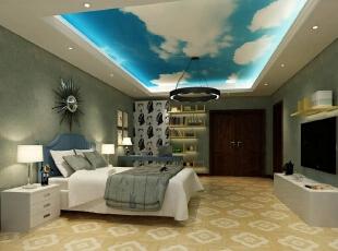 楼梯左手边是另一间完全不同风格的卧室,酣畅淋漓。蓝天白云式天花板让人如至自然空间,如果身边再加一捧鲜花,闭上双眼,闻着花香,你还能知道自己身在何处吗?,400平,80万,混搭,别墅,卧室,白蓝,