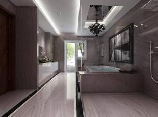 三层设置了一间现代简约风格的卫生间,木纹式地砖、白色浴缸及脸盆,极简设计。辛苦一天后,躺在浴缸中享受一下泡泡浴,洗去一天的劳累。,400平,80万,混搭,别墅,卫生间,白色,