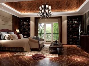 ,400平,80万,混搭,别墅,卧室,黑色,棕色,