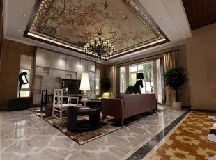 跨过玄关左拐,便是客厅,这里突然热闹起来。白色、黑色、咖色、棕**色相间,时尚简约、中国元素、简欧风情、后现代主义种种出现,石材、木材、布艺、壁纸反复交替,各种元素的交替出现却又和谐相处,设计师的艺术功底初步展现。,400平,80万,混搭,别墅,客厅,黑色,棕色,白色,