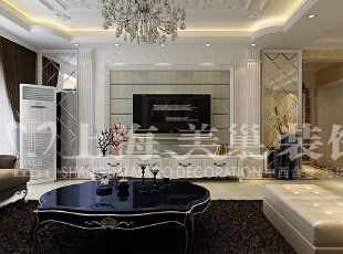 润城133平3室2厅简欧风格装修样板间——电视背景墙装修效果图,133平,9万,现代,三居,客厅,黑白,