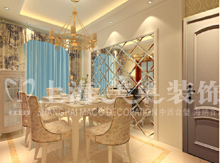 润城133平3室2厅简欧风格装修方案——餐厅装修效果图,133平,9万,现代,三居,餐厅,黄白,