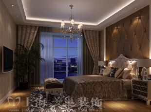 郑州润城133平三室两厅简欧风格装修案例——卧室装修效果图,133平,9万,现代,三居,卧室,棕色,白色,