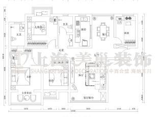 润城133平三室两厅简欧风格装修户型图,133平,9万,现代,三居,