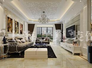 润城133平三室两厅简欧风格装修案例——客厅装修效果图,133平,9万,现代,三居,客厅,白色,
