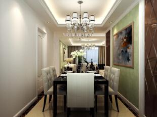客厅与餐厅的背景墙三个用一个手法表现,让空间整体统一。墙面的壁纸颜色荣空间多了一份清新。过道的顶与地面的结合相互呼应,茶色镜面的运用让空间显得更高。,139平,6万,欧式,三居,餐厅,浅绿色,白色,