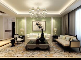 客厅与餐厅的背景墙三个用一个手法表现,让空间整体统一。墙面的壁纸颜色荣空间多了一份清新。过道的顶与地面的结合相互呼应,茶色镜面的运用让空间显得更高。,139平,6万,欧式,三居,客厅,浅绿色,白色,